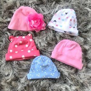 Set of 5 Gerber baby hats